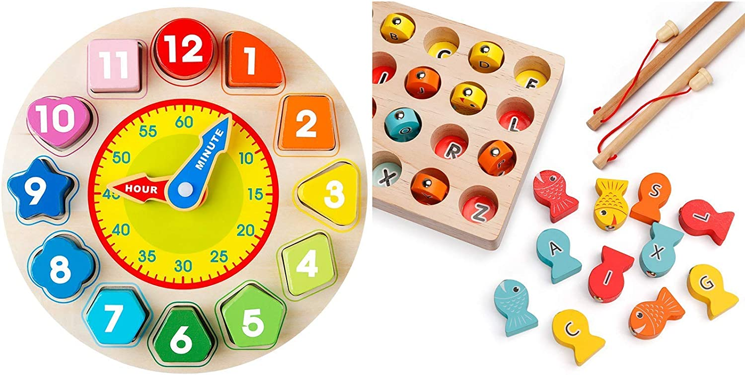 Wooden Magnetic Fishing Game with 2 Poles Coogam Wooden Shape Color Sorting Clock