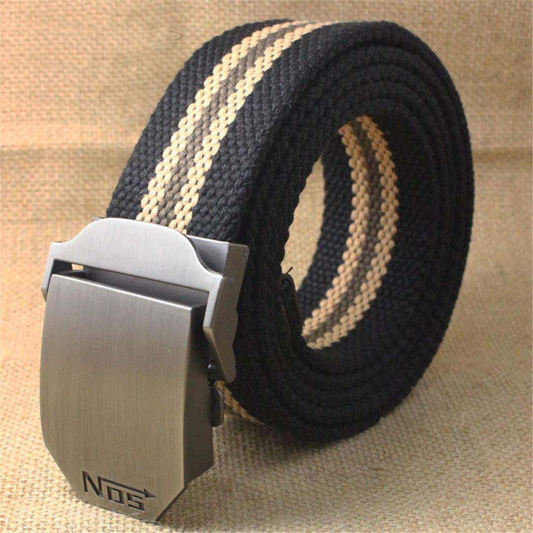 JUIHUGN Best Unisex Tactical Belt Top 4 Mm Thick 3.8 cm Wide Casual Canvas Belt Outdoor Alloy Automatic Buckle Men Belt B Army Green 120cm