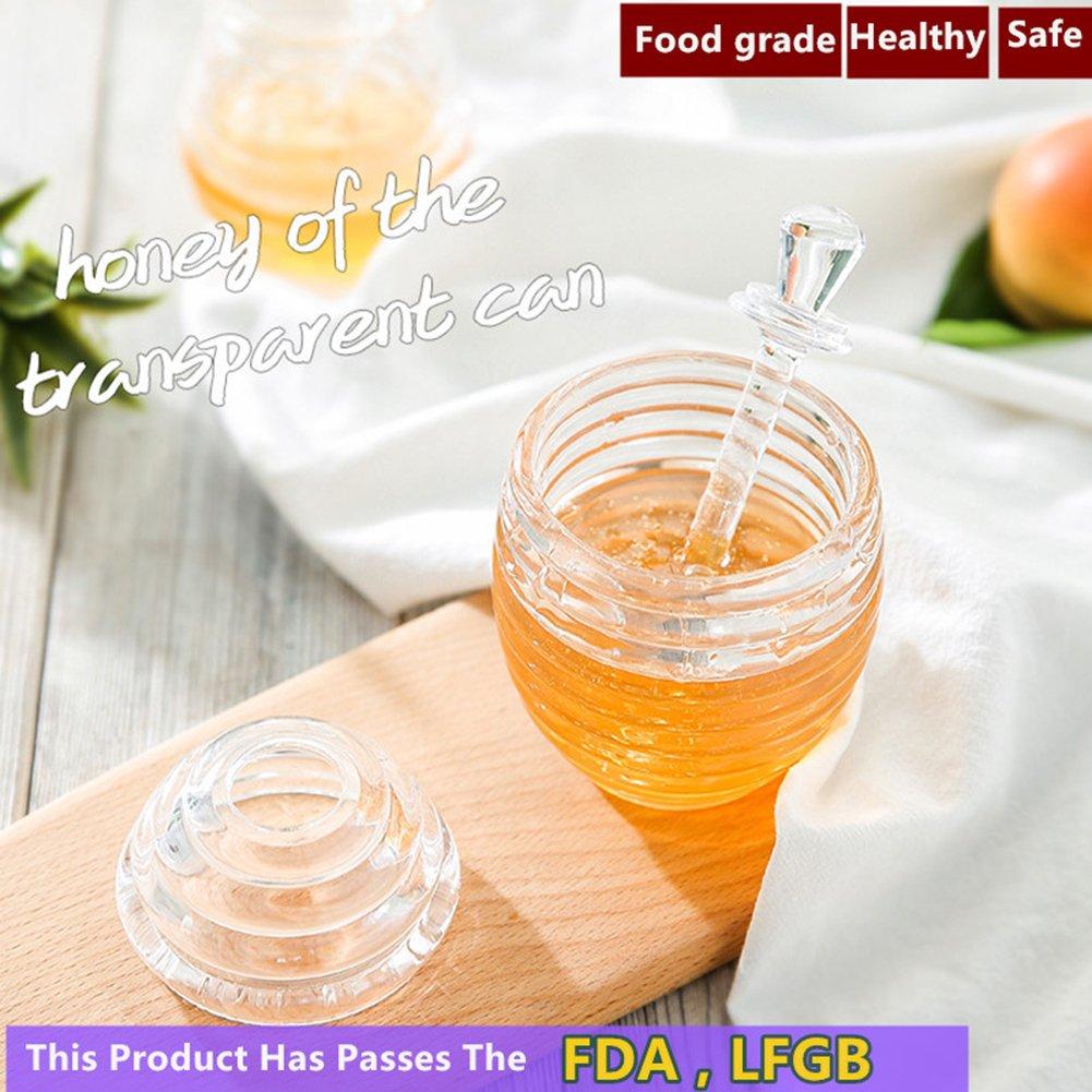 Honigglas Mit Schopfloffel Acryl Honigstab Und Topf Glas Honig Halter Bpa Frei