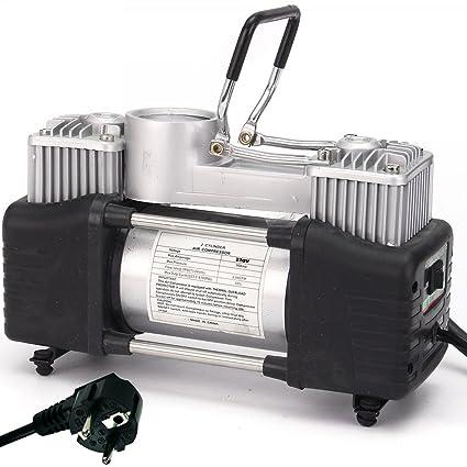 TrAdE shop Traesio Mini compresor Portátil 220 V a Doble Cilindro para Coche Moto + Manómetro