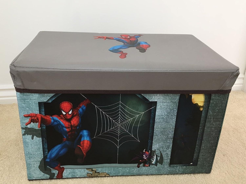 Caja de almacenamiento taburete banco asiento para niños los niños TODDLER bebé caja de juguete y de almacenamiento cajas dormitorio sala de juegos muebles Spider Man Storage Stool Box: Amazon.es: Bebé