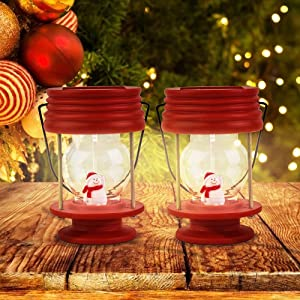 Christmas Solar Lanterns Hanging - 2 Pack Outdoor Solar Lights with Warm White LED and Snowman Inside, Decorative Solar Table Lamp Centerpieces, Ideal for Party, Garden