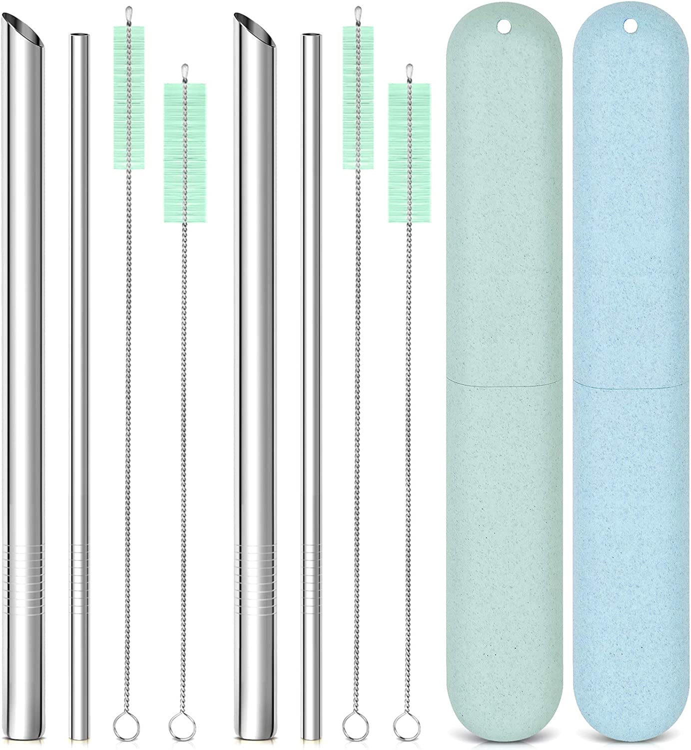 Reusable Metal Stainless Steel Straws: 2 Regular Metal Straws + 2 Metal Boba Straws + 2 Wheat Cases + 4 Cleaning Brushes + 1 Pouch, Portable for Personal Use, 8.5 inches (Blue&Green)