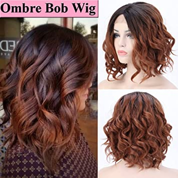 Short Ombre Wavy Bob Lace Front Wigs For Black Women Glueless Natural Curly Wave Heat Resistant Synthetic Hair Wigs Middle Part Cosplay Party