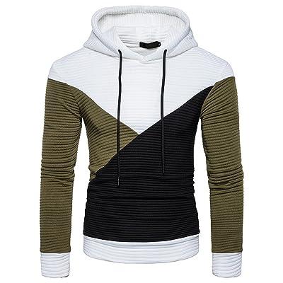 Abepanic Men's Drawstring Pullover Hoodies Color Block Outwear Sweatshirts