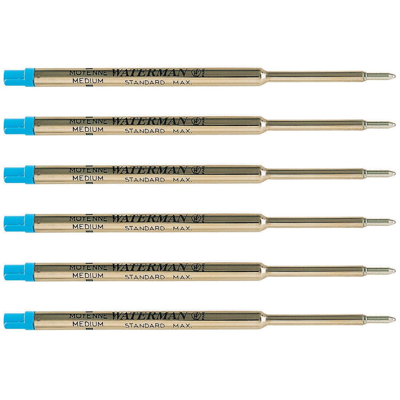 Waterman Blue Ballpoint Ink Refill Medium Point Maxima 6-Refills 834264 by Waterman