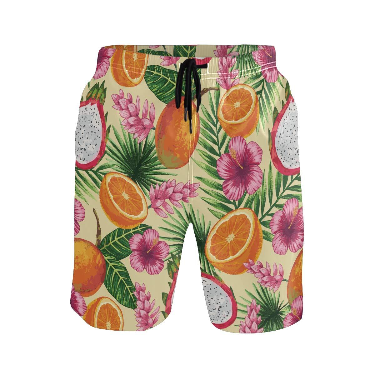 Mens Swim Trunks Tropical Flower Dragon Fruit Orange Beach Board Shorts
