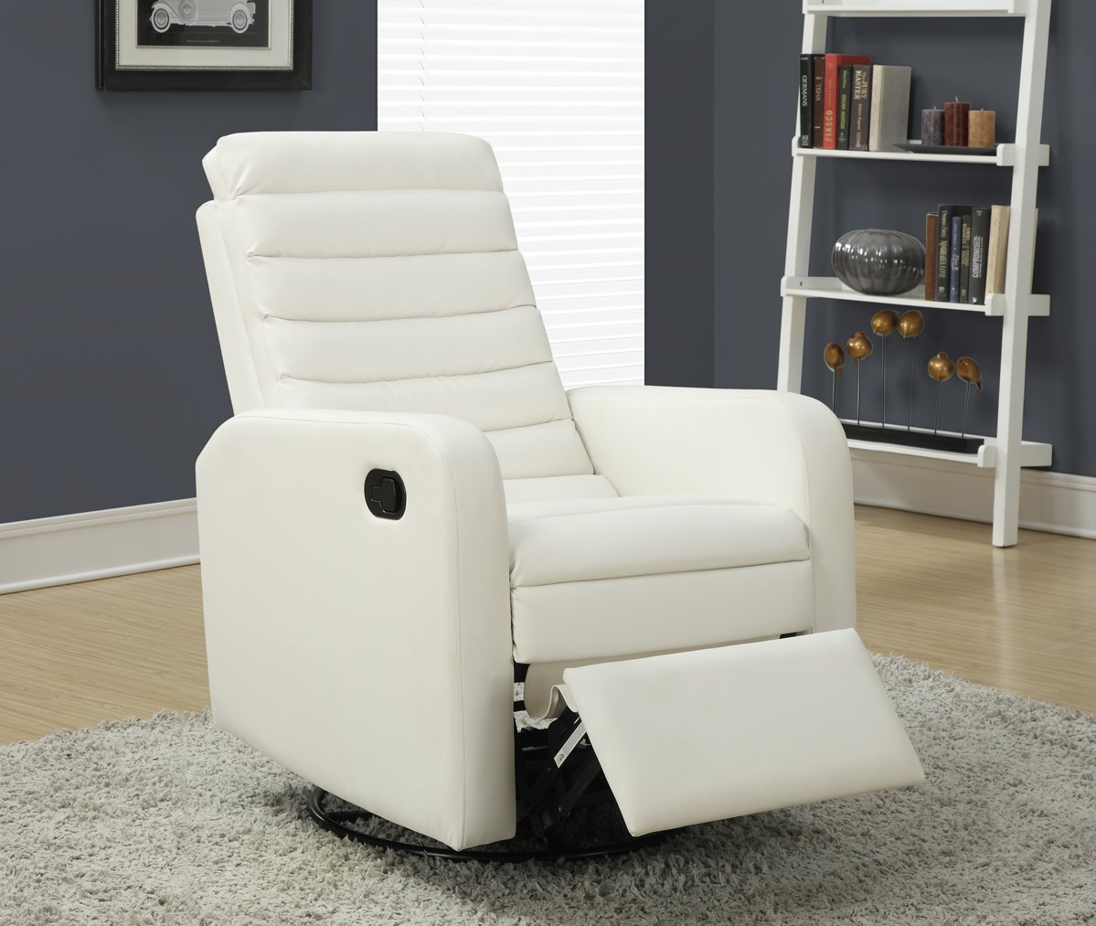 Amazon.com: Monarch Specialties White Bonded Leather Swivel Glider ...