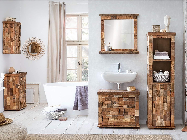 Woodkings® Hochschrank Patna Badmöbel Holz rustikal massiv Altholz