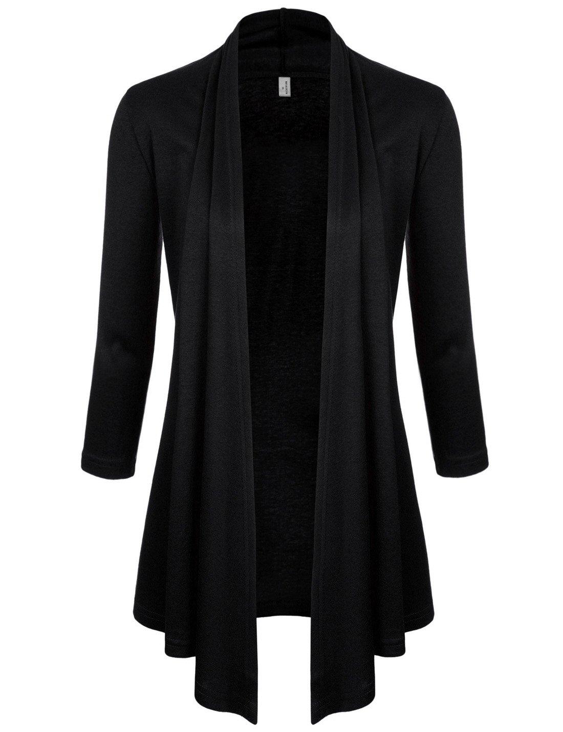 NEARKIN (NKNKWCD6937) Womens Open Front Slim Cut Look 3/4 Sleeve City Casual Cardigans BLACK US M(Tag size L)