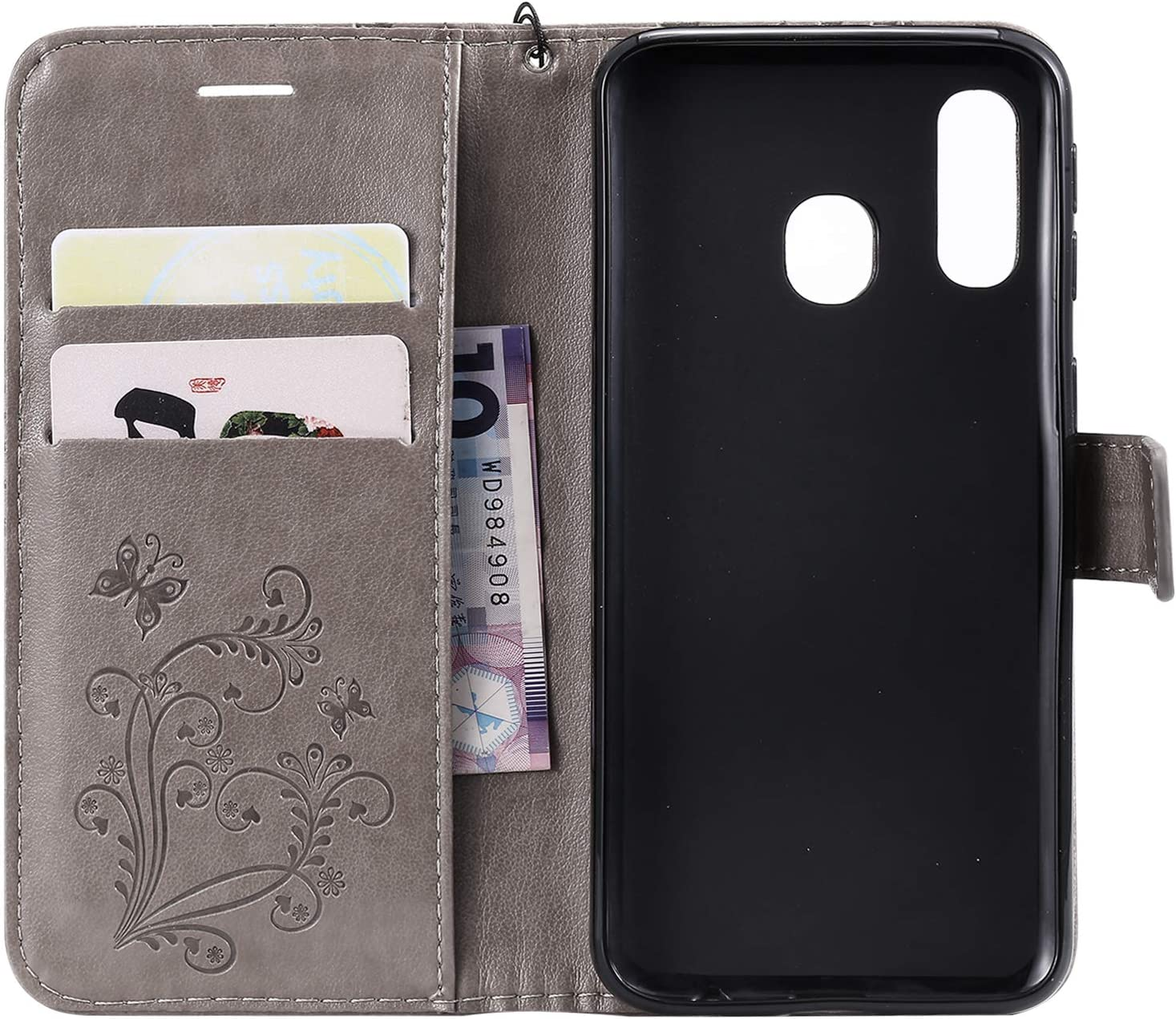 Strap Leather Case for Galaxy A40,Wallet Leather Case for Galaxy A40,Herzzer Premium Stylish Pretty 3D Orange Butterfly Printed Magnetic Soft Rubber Stand Case with Card Slots