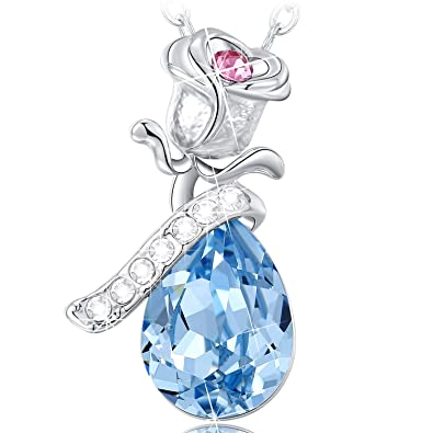 NEEMODA Rose Fairy Austrian Crystal Necklace with Luxury Gift Box, 18 inches + 2 inches Chain