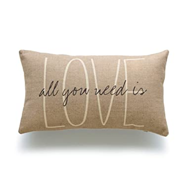 Hofdeco Decorative Lumbar Pillow Cover HEAVY WEIGHT Cotton Linen His and Her Tan Love Is All You Need Script 12 x20  30cm x 50cm