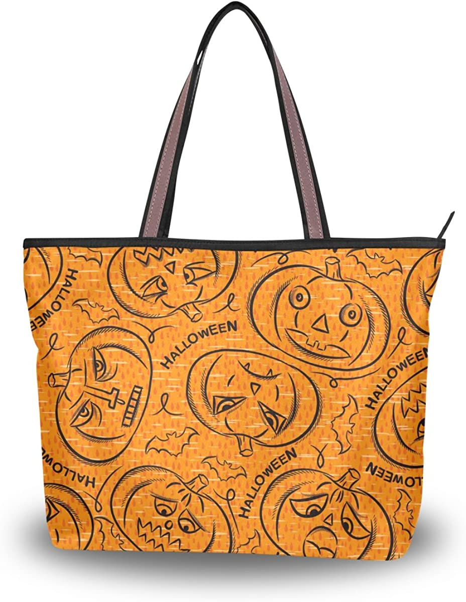 WIHVE Halloween Pumpkin Lantern Bat Womens Tote Bag Top Handle Satchel Handbags Shoulder Bags