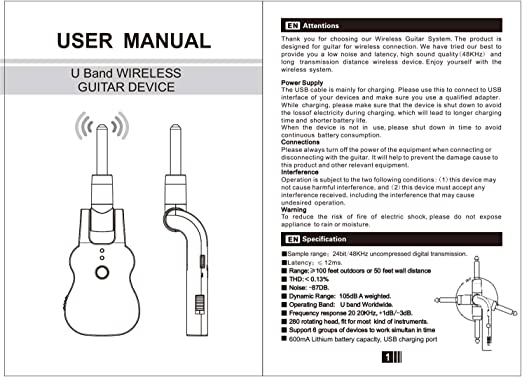 Fesjoy Sistema USB Pick Up recargable para guitarra eléctrica Bass ...