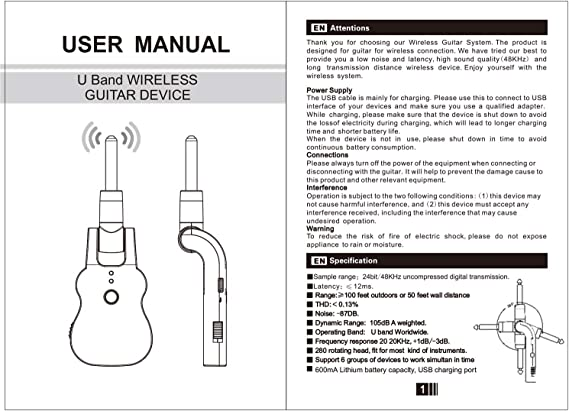 JJmooer Transmisor de audio inalámbrico UHF Sistema receptor USB recargable Pick up para guitarra eléctrica Bass Instrumento musical Accesorio: Amazon.es: Instrumentos musicales