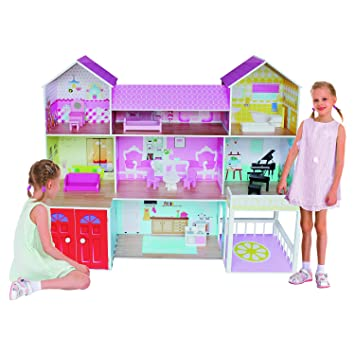 Kiddi Style Wooden Huge Mansion Manor Dolls House With Furniture