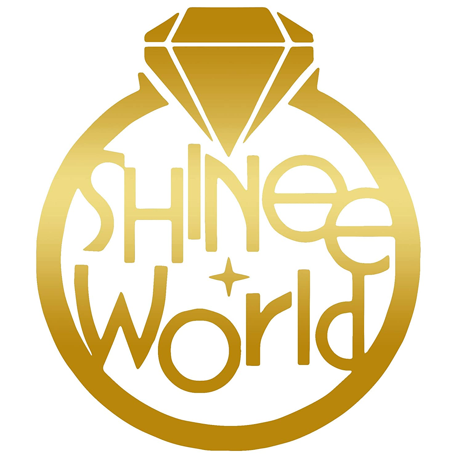 Angdest shinee world kpop metallic gold set of 2 premium waterproof vinyl decal stickers for laptop phone accessory helmet car window bumper mug tuber