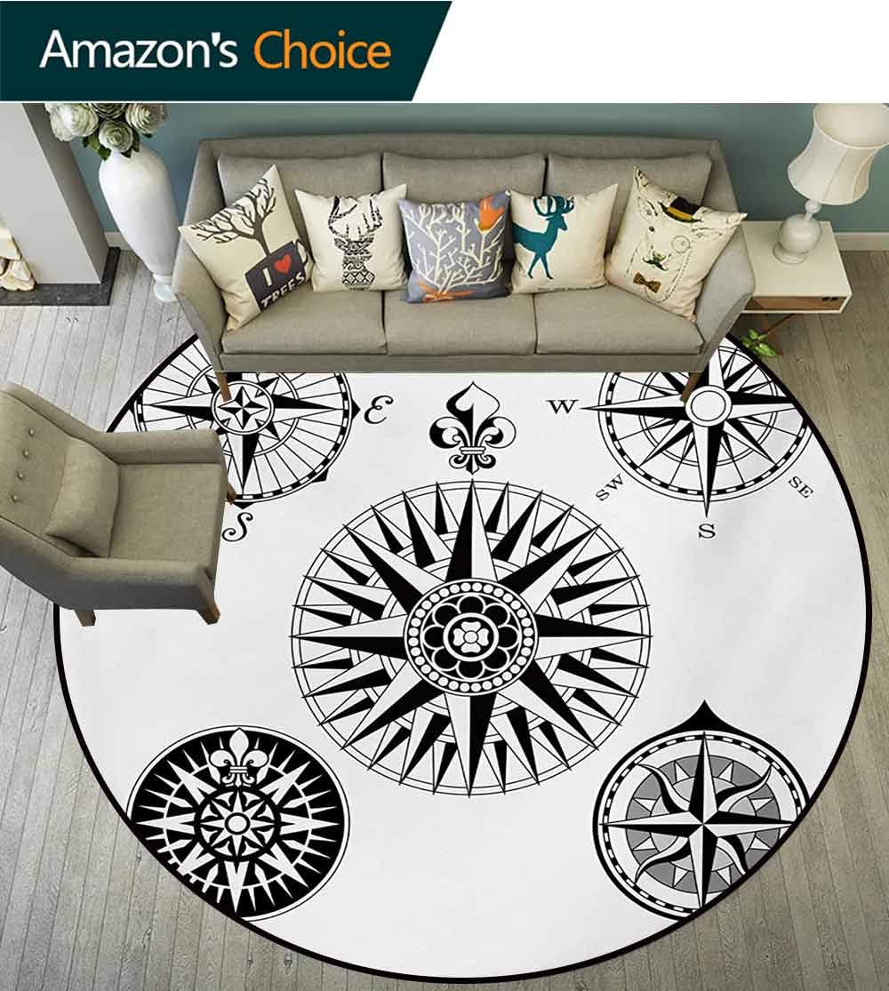 RUGSMAT Compass Modern Machine Washable Round Bath Mat,Highly Detailed Five Windroses Compass Angles Directions Navigation in The Sea Non-Slip Soft Floor Mat Home Decor,Diameter-51 Inch by RUGSMAT (Image #2)