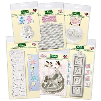 The Baby Shower Collection, moldes de silicona para decoración de pasteles, cupcakes, azúcar, caramelos y arcilla, seguro para alimentos: Amazon.es: Hogar