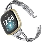 Wearlizer Compatible with Fitbit Versa 3 / Fitbit Sense Bands for Women Dressy Metal Replacement Wristbands Straps…