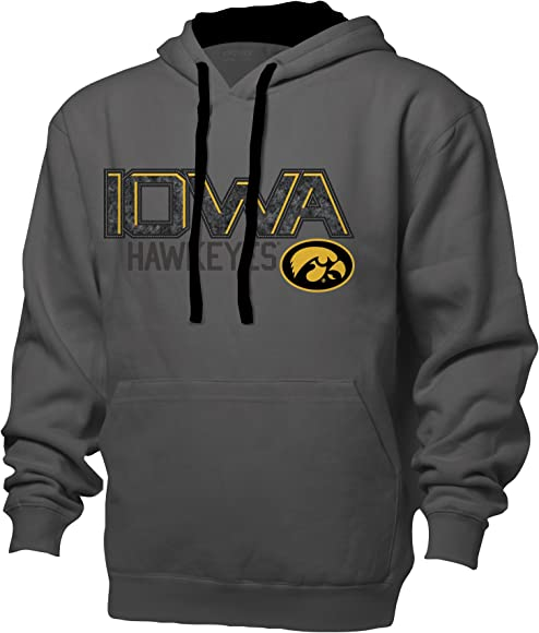 Graphite//Black Large NCAA Iowa Hawkeyes Benchmark Colorblock Pullover Hood
