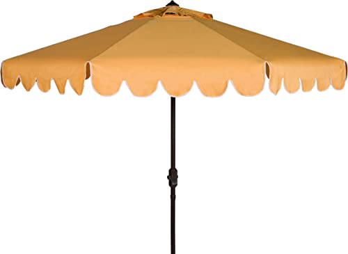 Safavieh PAT8010D Collection Venice Yellow and White Single Scallop 9Ft Crank Outdoor Push Button Tilt Umbrella
