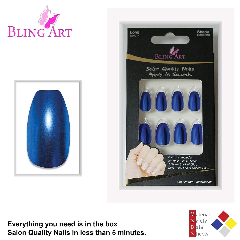 Bling Art Uñas Postizas Azul Metallic Bailarina 24 Ataúd Longe Falsas puntas acrílicas con pegamento: Amazon.es: Belleza