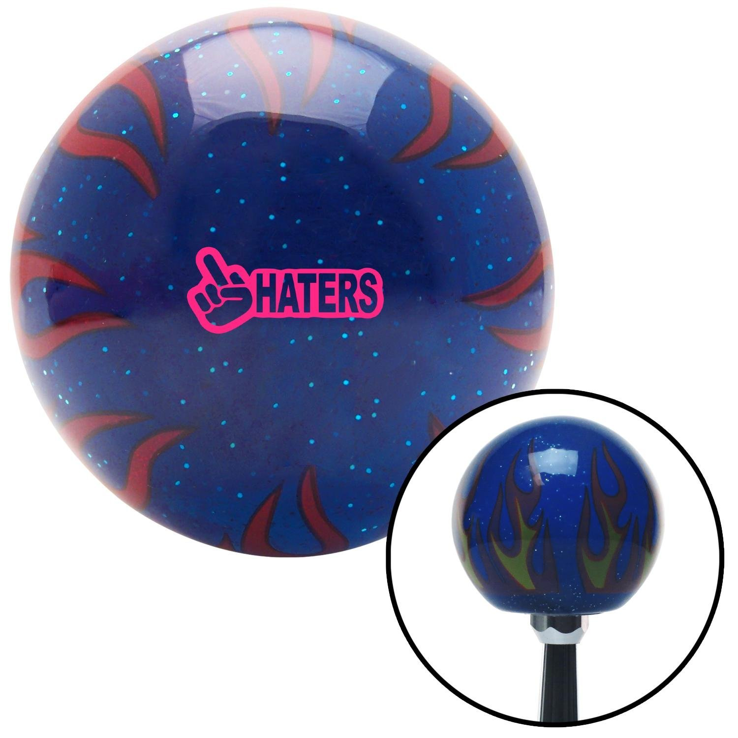 American Shifter 298552 Shift Knob Pink Haters Blue Flame Metal Flake with M16 x 1.5 Insert