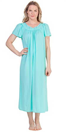 464e2205251 Miss Elaine Classics Nylon Ballet Length Nightgown - Aqua (Small   6 ...