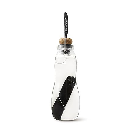 Botella de agua negra + azul con filtro de vidrio soplado a mano de borosilicato botella