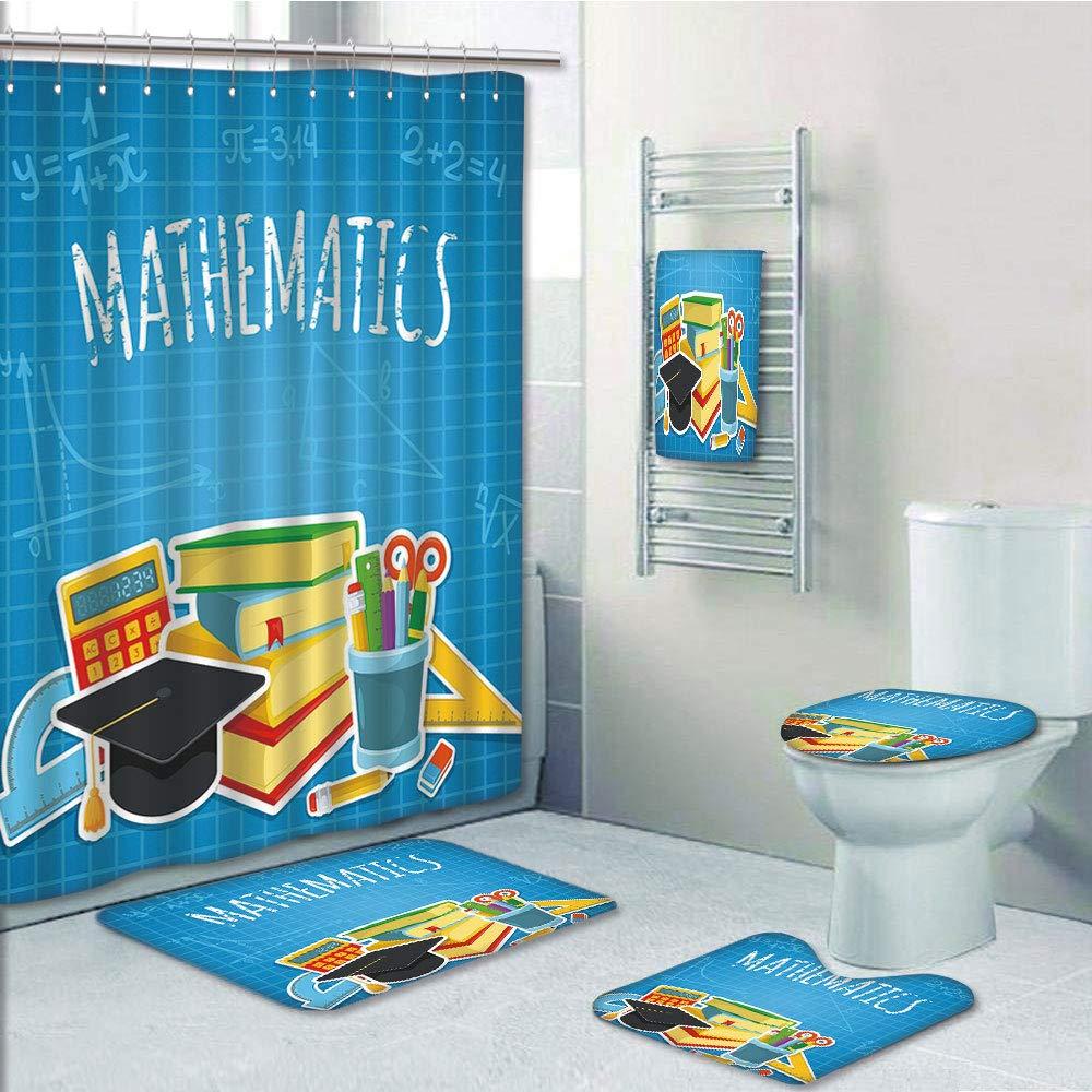 iPrint Bathroom 5 Piece Set Shower Curtain 3D Print,Mathematics Classroom Decor,Education Science Concept School College Supplies Set Books Cap Decorative,Multicolor,Picture Print Design