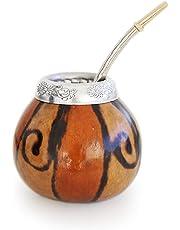 BALIBETOV [Nouveau Ensemble de maté Naturel de calebasse (Tasse à maté - Mate Gourde) fabriqué à la Main - avec Bombilla (Sorbet) pour Boire Le maté de Yerba