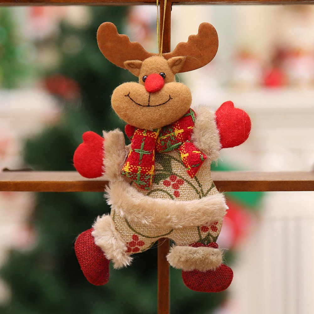 Inkach 2pcs Christmas Tree Hanging Ornaments   Santa Claus, Snowman, Reindeer, Bear Doll Toy Gifts (C)