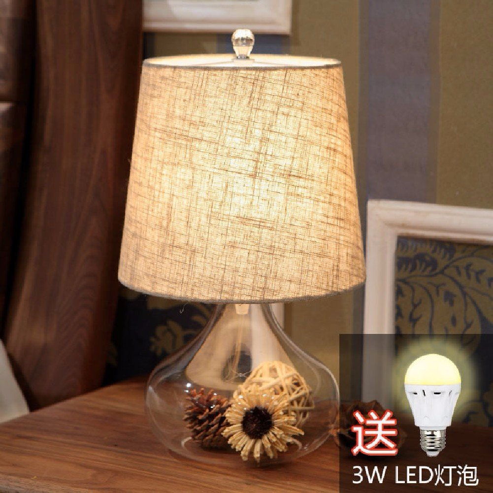KHSKX American Village vetro tavolo lampada, lampada da comodino camera da letto, luce LED,B