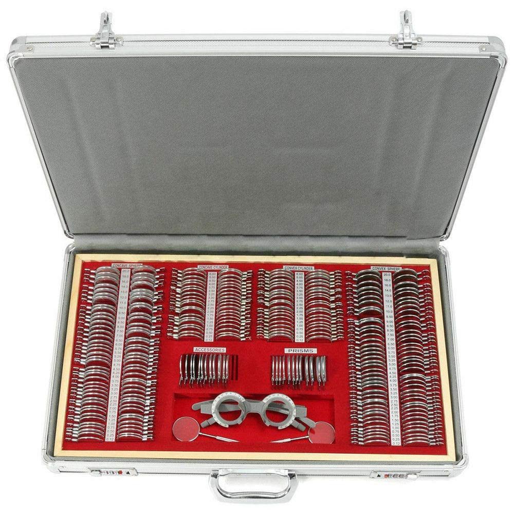 Optical Trial Lens Set Kits 266pcs Sphere+Cylinde Optometry Glass Metal Rim+1 PC Free Trial Frame w/Aluminum Case by Senderpick