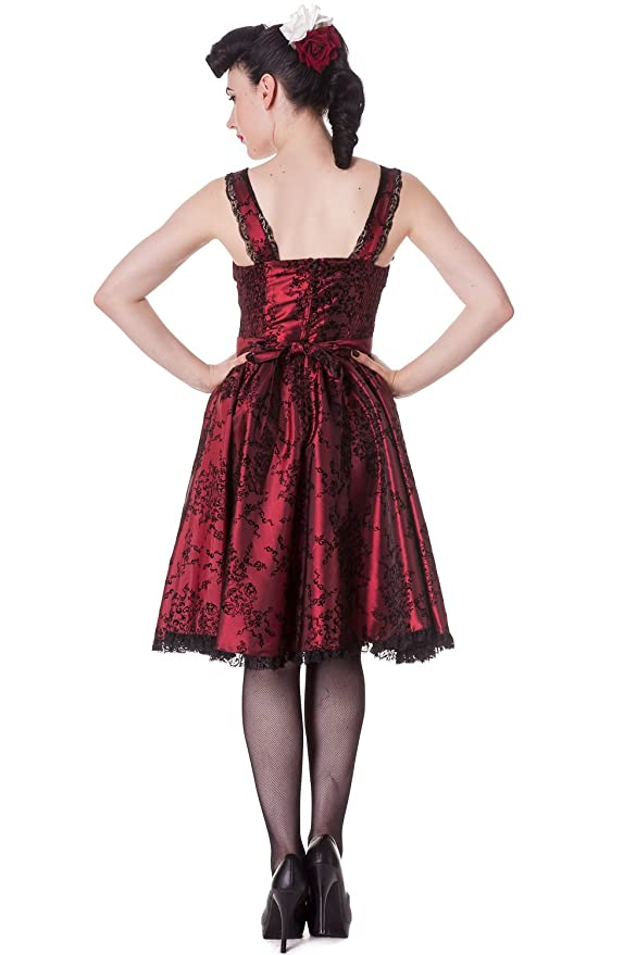 62c7be8398b0 Hell Bunny Gothic Vampire Flocked Taffeta Corseted Steampunk Goth Dress (S)  Burgandy at Amazon Women's Clothing store: Dolls Unlimited Omaha