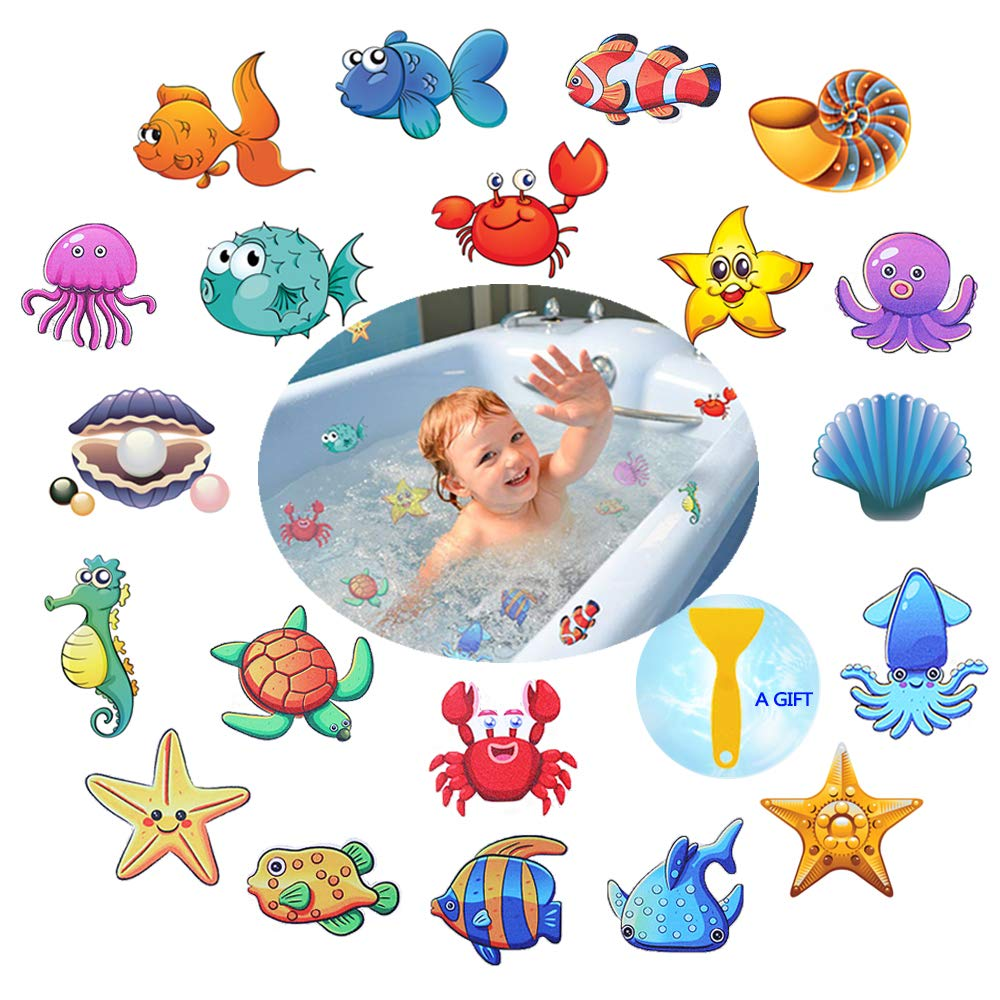 PASNOWFU Waterproof and Non-Slip Bathtub Stickers,Marine Organism Decal Treads, Adhesive Bathroom Shower Safety Appliques for Baby Kids Bath Tub,20 Set by PASNOWFU