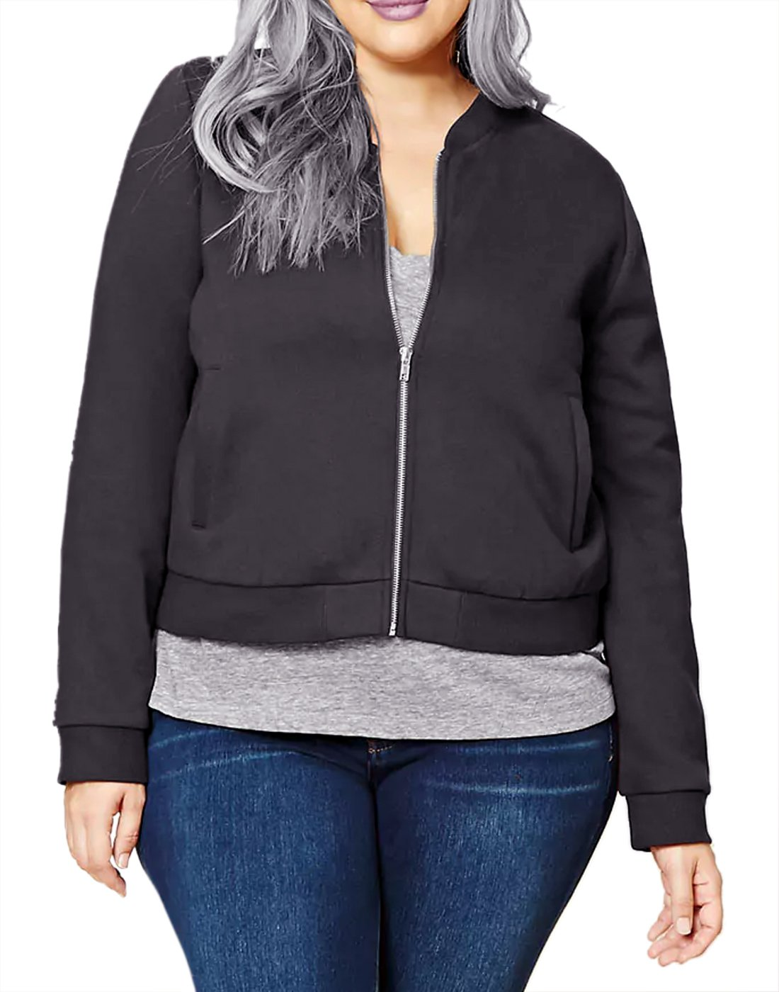 HDE Womens Plus Bomber Jacket Thin Short Coat Zipper For Women 1X-3X