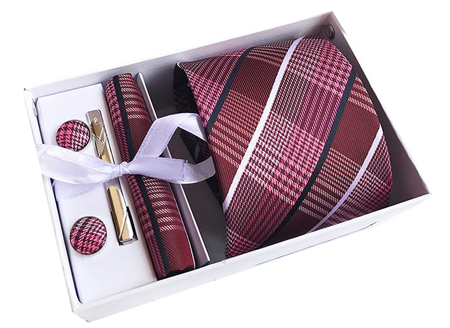 MENDENG Men Burgundy White Plaid Stripe Necktie Clip Pocket Square Cufflinks Set ENG1467