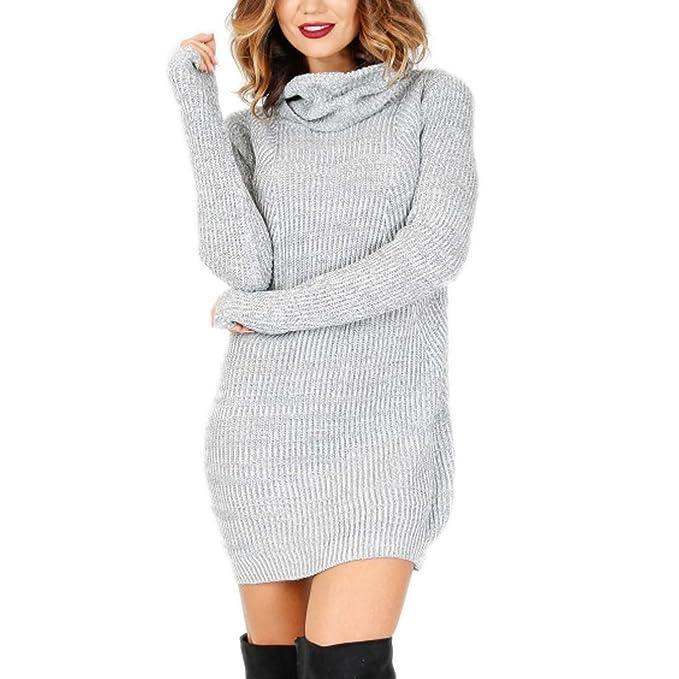 9475b713618810 Pullover Damen Pullikleid A-Linie Langarm Hohe-Ausschnitt Strickkleider  Einfarbig Minikleid (S,