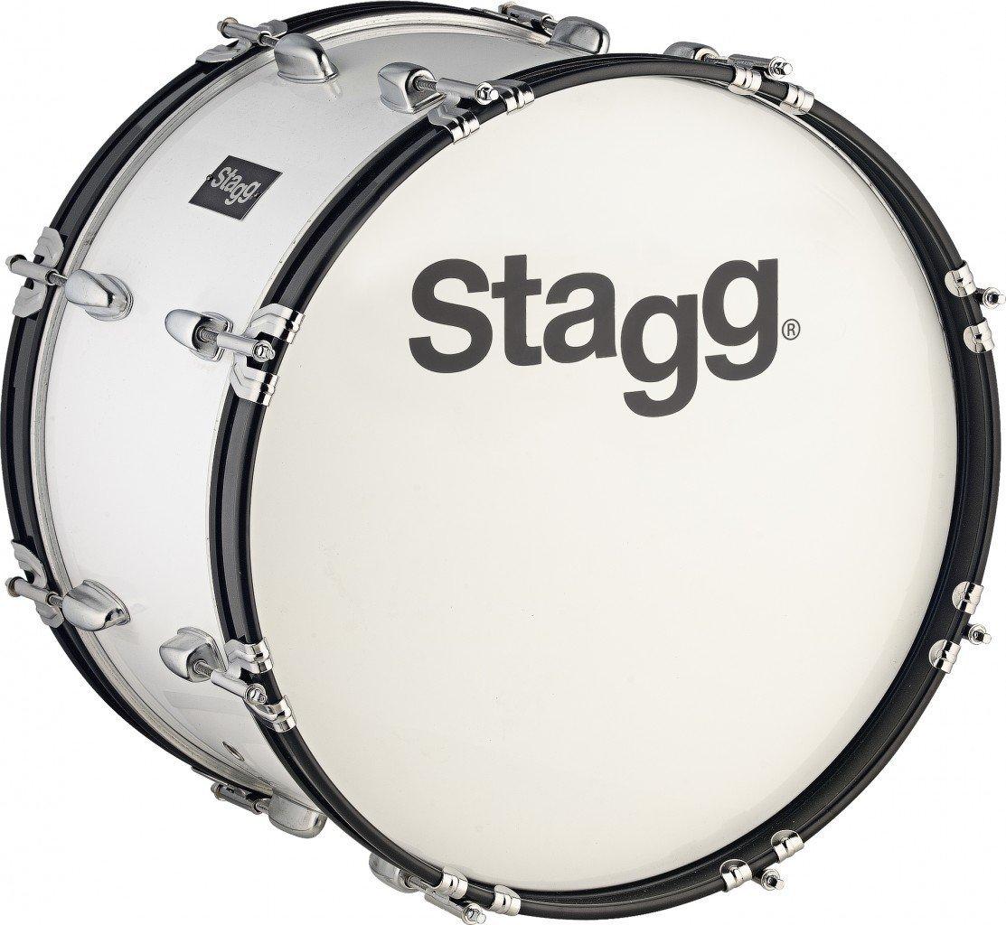 Stagg 2208422x 25,4Bombo de marcha con correa y baqueta, color blanco