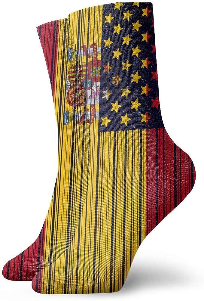 tyui7 Novedad Bar Coded USA España Bandera Calcetines Coloridos Diversión Deporte Running Medias para Hombres Mujeres: Amazon.es: Ropa y accesorios