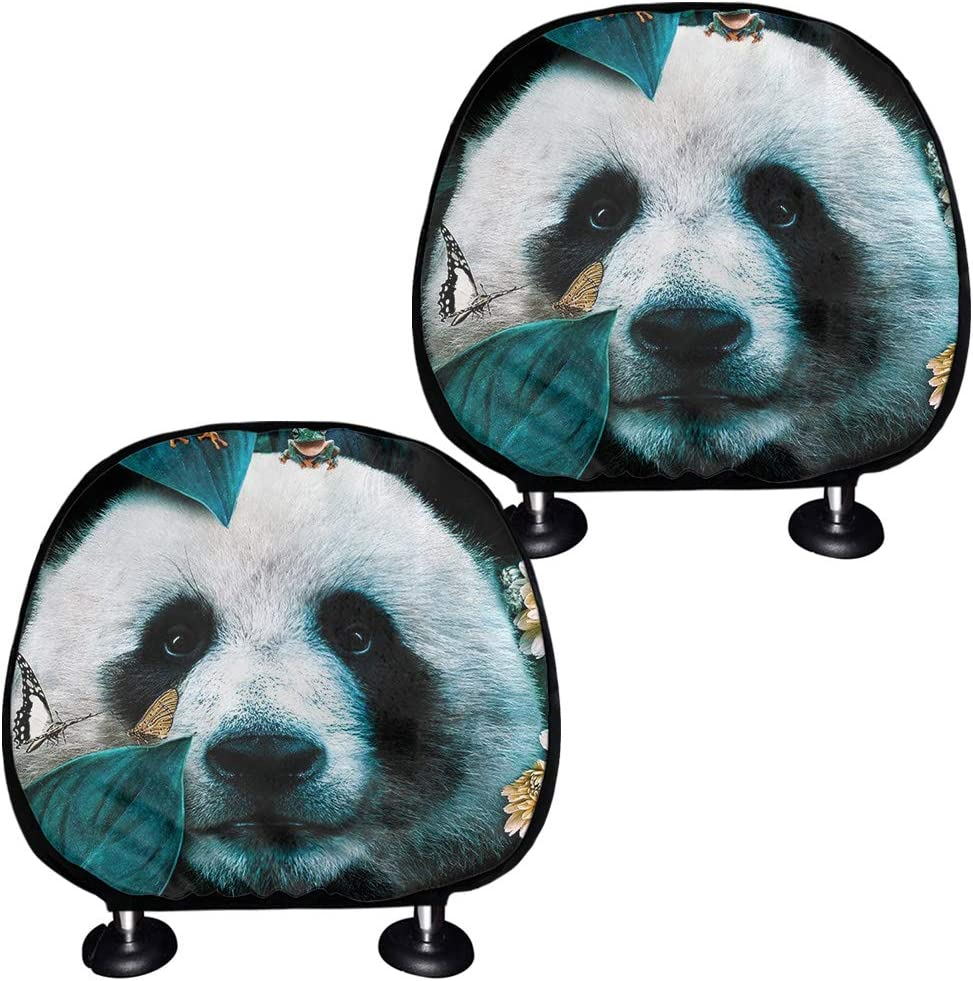JoyLamoria Cool Tiger Print Car Headrest Cover,Soft Fabric Protector Cover,Automotive Accessiores,Seat Protector Cover Pack of 2