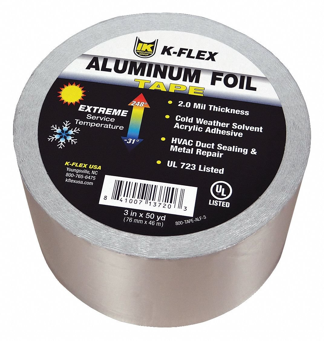 150 ft. x 3'' Aluminum Pipe Insulation Tape, -31 to 248F, Silver