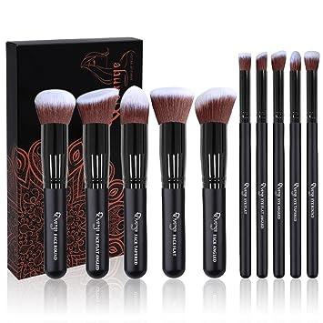 20172533378c Makeup Brushes, Qivange 10pcs Eyeshadow Foundation Powder Makeup Brush Set  with Case (Black)