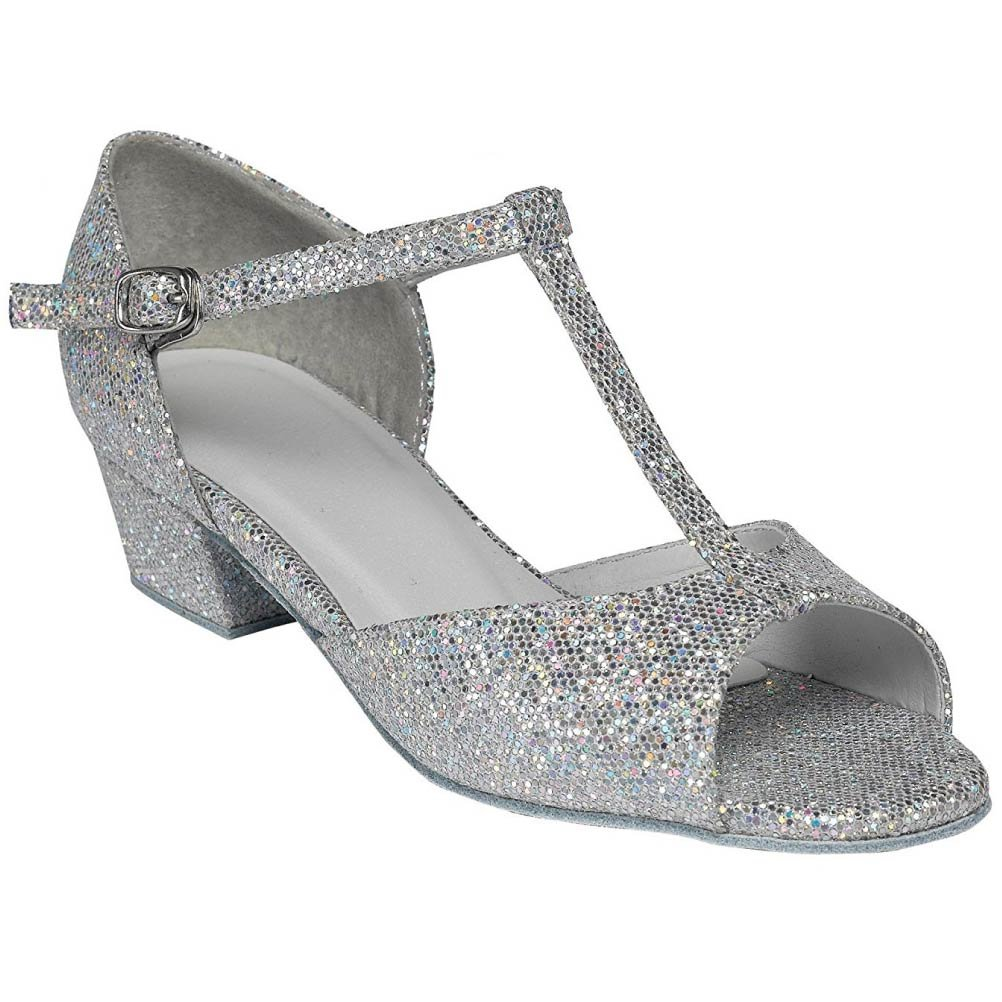 LATIN SHOES TAPPERS /& POINTERS GIRL/'S SILVER CHELSEA  BALLROOM