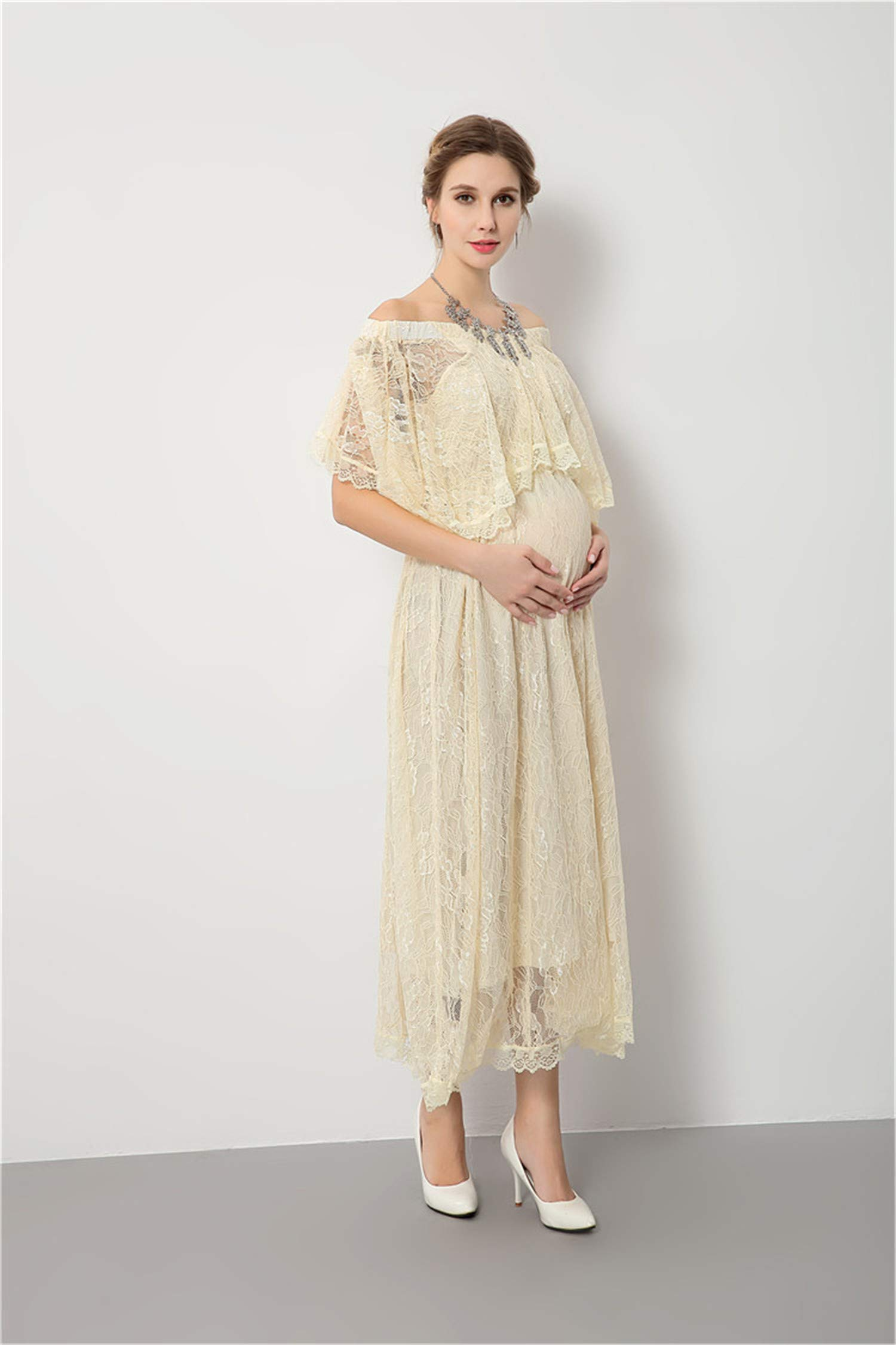 UNIQUE-F Maternity Skirt Photography Props Pregnant Women Dress Split Front Photo Word Shoulder Elegant Charming Loose Comfort