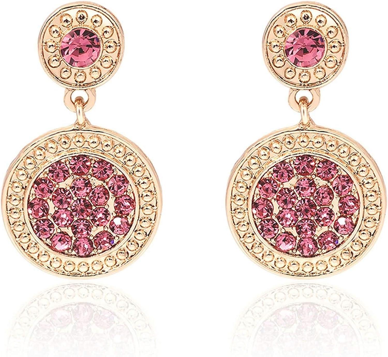 Daesar Pendientes Chapado OroRedondo Cristal Circonita Rosa Pendientes Rosa