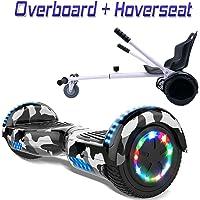 """COLORWAY Hover Scooter Board 6,5"""" con Asiento Kart con Ruedas de Flash LED, Patinete Eléctrico Altavoz Bluetooth y LED, Autoequilibrio de Scooter Eléctrico"""